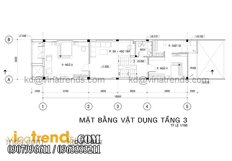 mb 4 Thiết kế nhà phố đẹp cho diện tích 5x18m nhà anh Phước ở Tân Phú   NP091213A