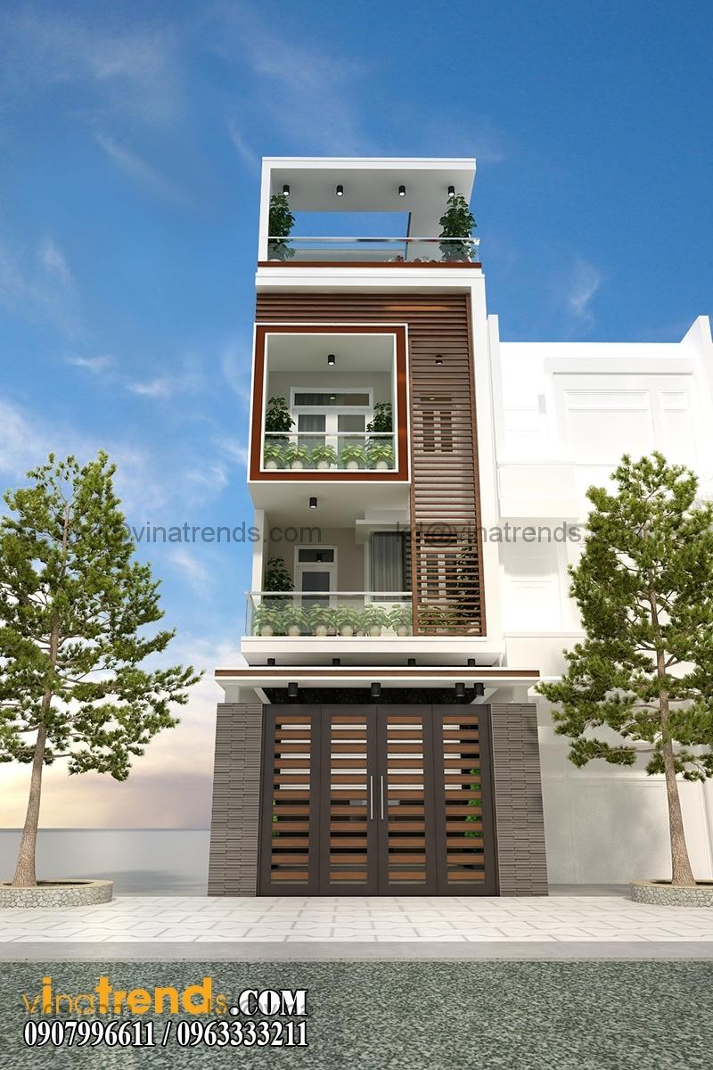 thiet ke nha pho 4 tang dep mat tien 5m hien dai 2 Thiết kế nhà phố đẹp cho diện tích 5x18m nhà anh Phước ở Tân Phú   NP091213A