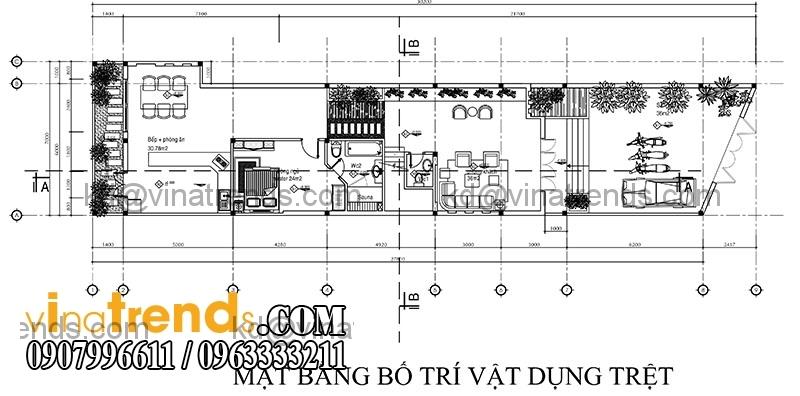 ban ve thiet ke nha dep 1 tret 1 lau dien tich 151m2 3 Thiết kế nhà ống đẹp 2 tầng diện tích 7x21,6m   NO150714A