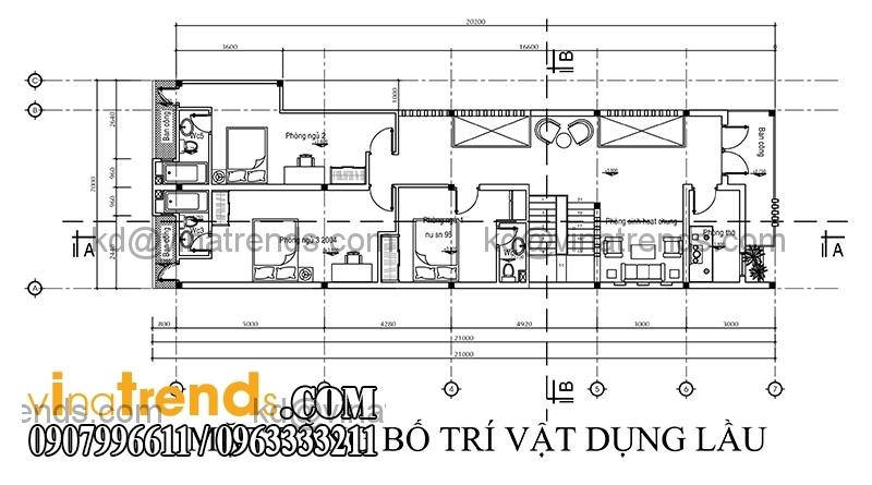 ban ve thiet ke nha dep 1 tret 1 lau dien tich 151m2 4 Thiết kế nhà ống đẹp 2 tầng diện tích 7x21,6m   NO150714A