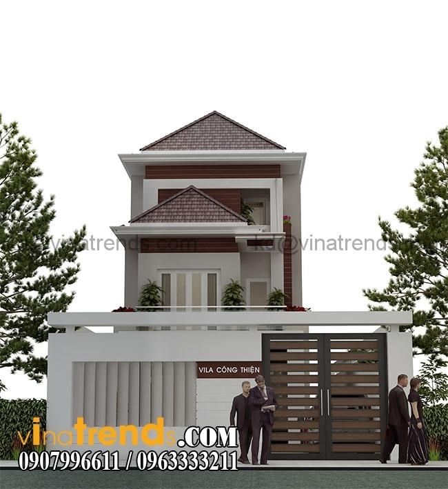 biet thu 2 tang chu thien Thiết kế biệt thự đẹp 2 tầng 7x17m hoành tráng tại Tiềng Giang   BT22