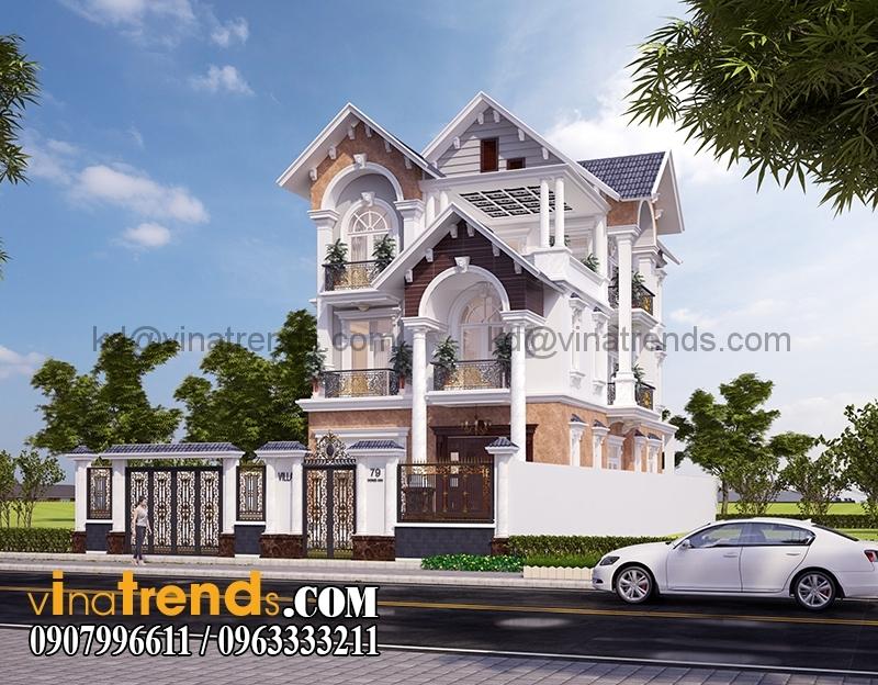 biet thu 3 tang co dien co san vuon 7 Mẫu thiết kế biệt thự mini 360m2 độc đáo cổ điển   BTMN250814A