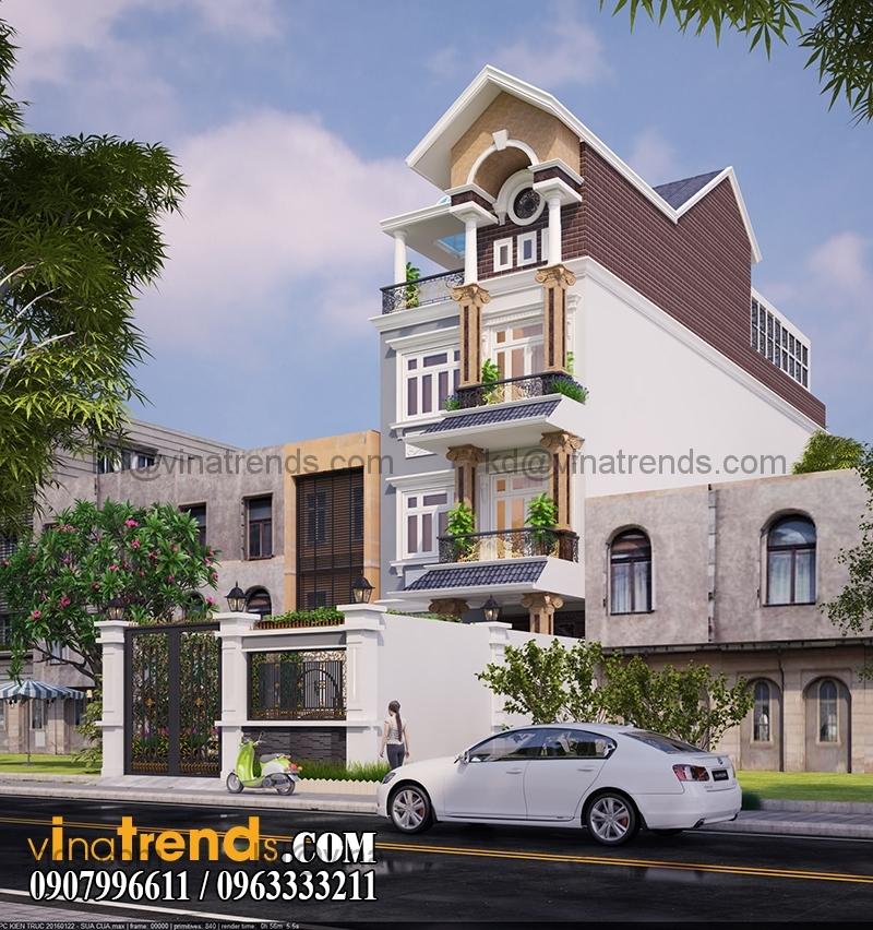 biet thu 3 tang tan co dien 110m2 dep 2 Ngập tràn kiến trúc thiết kế biệt thự hiện đại tân cổ điển mới   BT240714A
