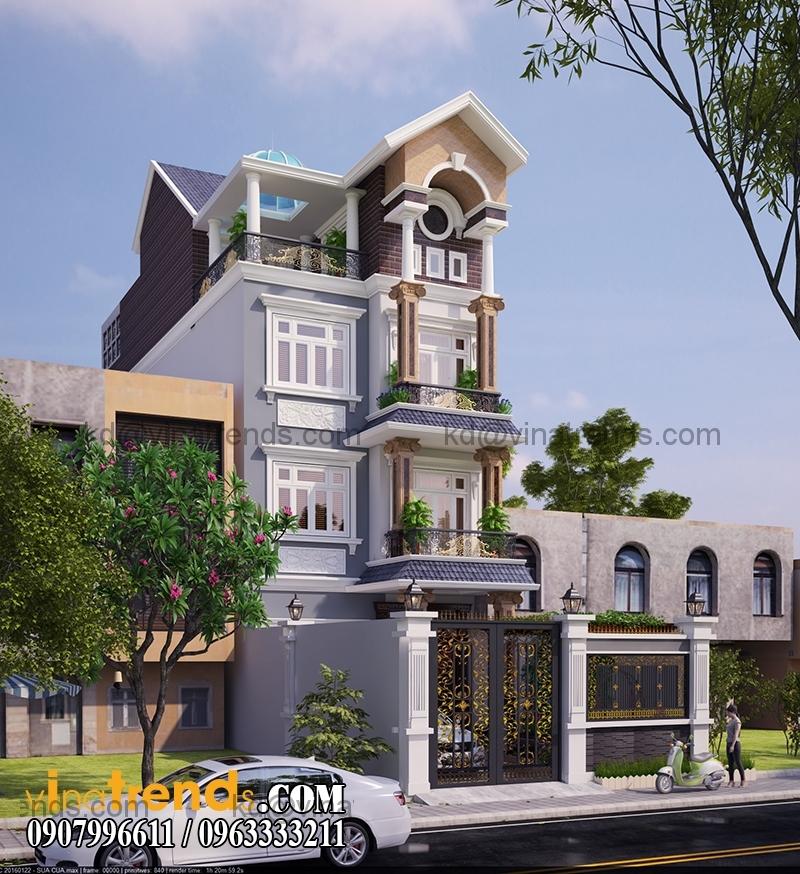 biet thu 3 tang tan co dien 110m2 dep 3 Ngập tràn kiến trúc thiết kế biệt thự hiện đại tân cổ điển mới   BT240714A