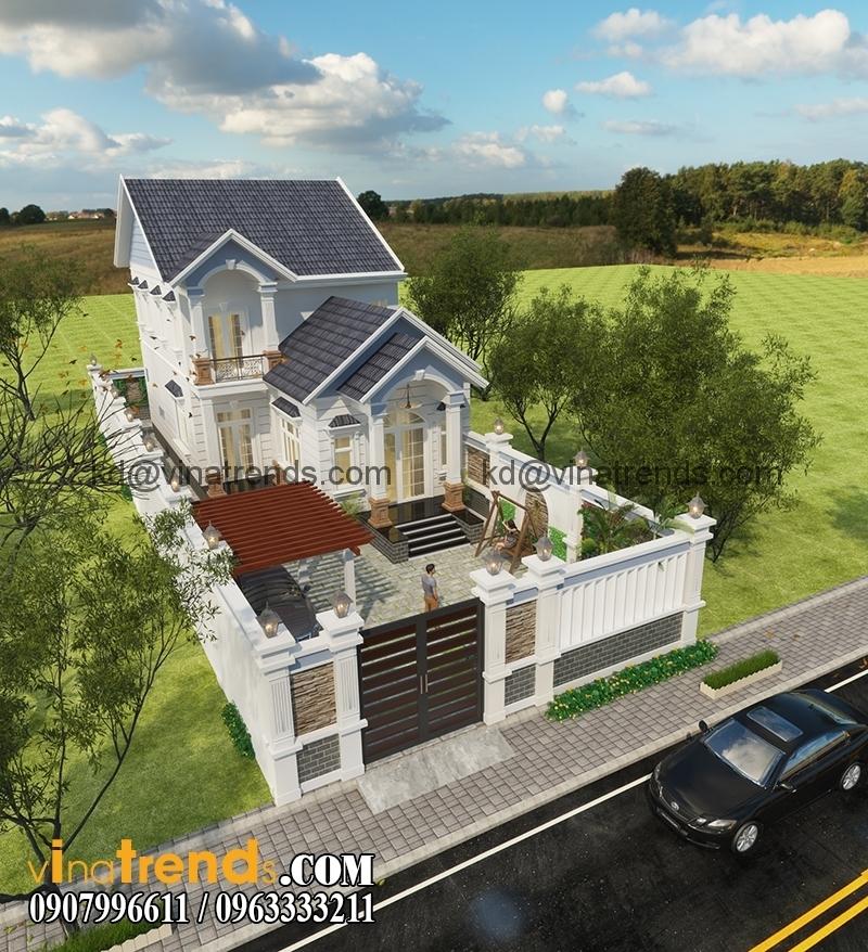 biet thu mini 2 tang dep 100m2 2 Thiết kế nhà vườn 2 tầng ở nông thôn 170m2 hiện đại tuyệt vời   NO121214B