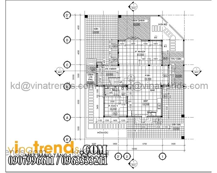 thiet ke biet thu hien dai san vuon tang 1 Mẫu thiết kế biệt thự hiện đại 3 tầng duy nhất tại Việt Nam   BTHD310714A