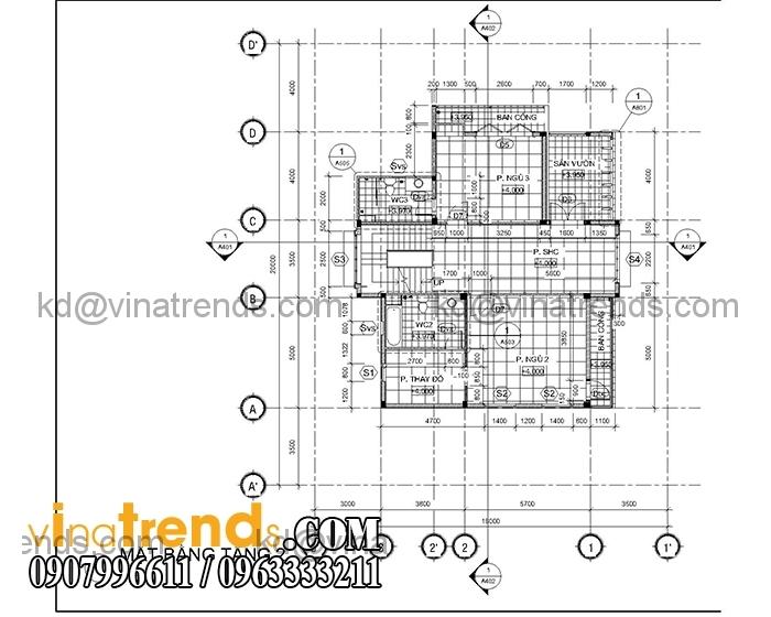 thiet ke biet thu hien dai san vuon tang 2 Mẫu thiết kế biệt thự hiện đại 3 tầng duy nhất tại Việt Nam   BTHD310714A