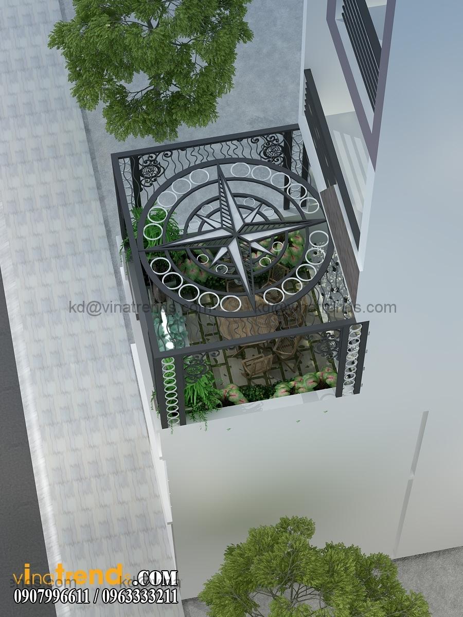 thiet ke san vuon tieu canh mau nha ong dep 4 tang mat tien 4m 2 Choáng với kiểu thiết kế nhà ống đẹp 4x20m tại TP HCM   NO150714B