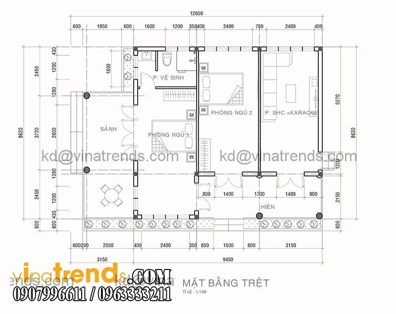 KT01 Thiết kế nhà đẹp 1 tầng 5x17,1m trên diện tích 400m2 vườn xinh xắn   ND230814A