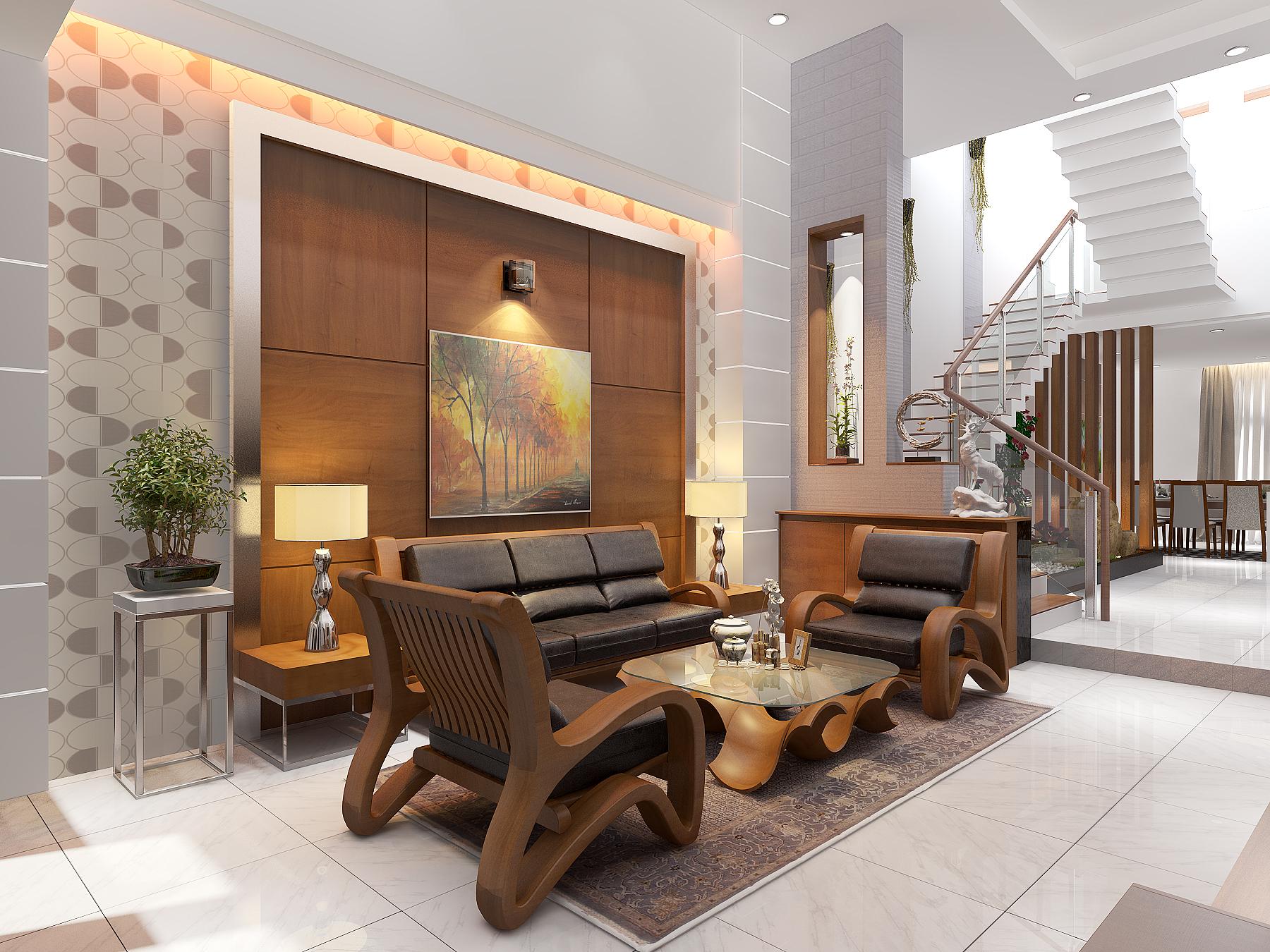 PHONG KHACH BEP 2 1 Mẫu thiết kế nhà đẹp 4,5x18m 3 tầng mới hiện đại ngập không gian xanh đẹp tuyệt ở Biên Hòa