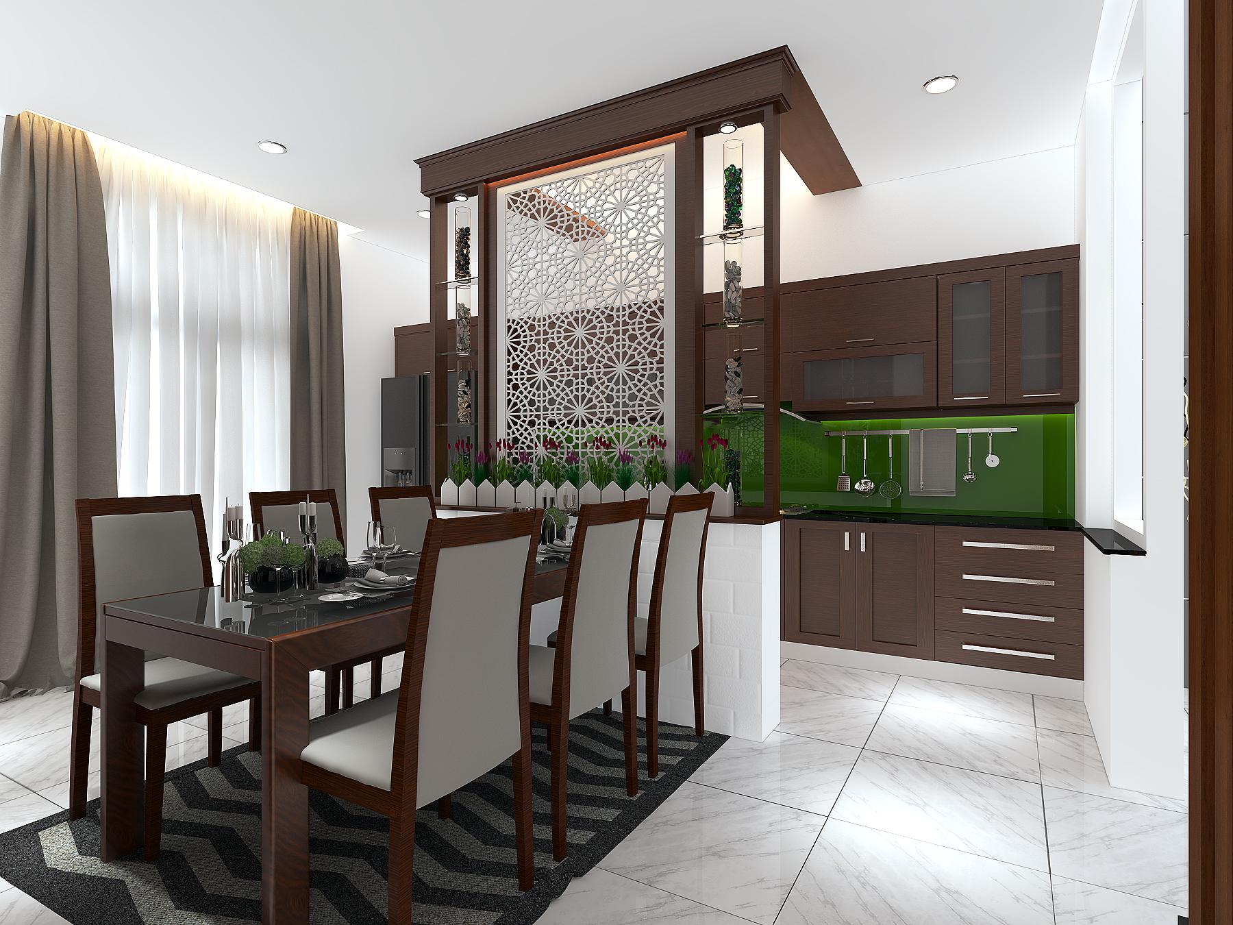 PHONG KHACH BEP 4 1 Mẫu thiết kế nhà đẹp 4,5x18m 3 tầng mới hiện đại ngập không gian xanh đẹp tuyệt ở Biên Hòa