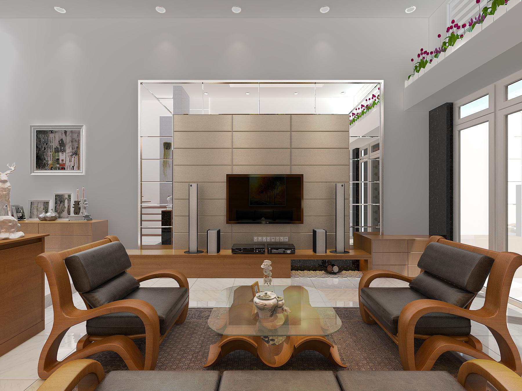 PHONG KHACH BEP 5 1 Mẫu thiết kế nhà đẹp 4,5x18m 3 tầng mới hiện đại ngập không gian xanh đẹp tuyệt ở Biên Hòa