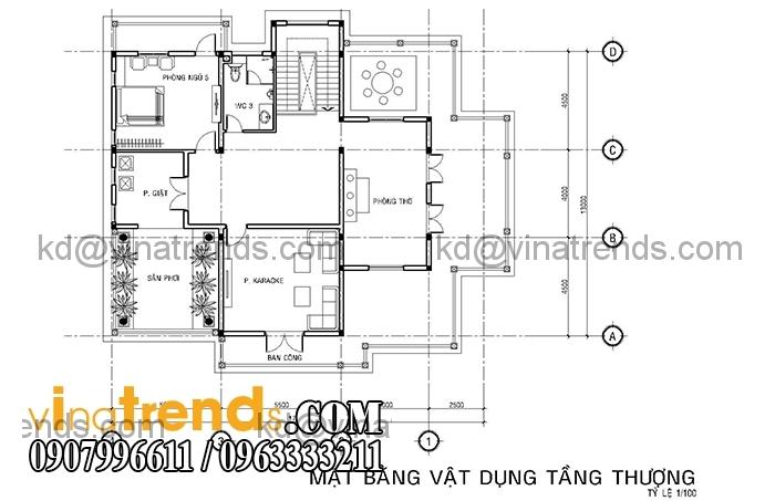 ban ve biet thu phap 2 tang 2 Mê đắm mẫu thiết kế biệt thự vườn 3 tầng 13x17m cực đẹp   BTV200814A
