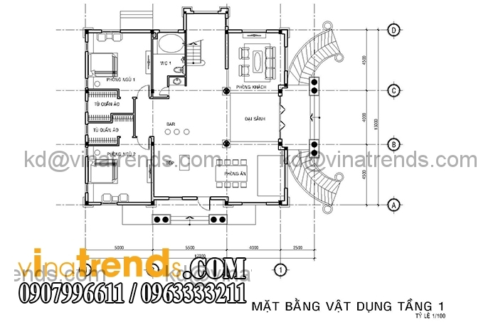 ban ve biet thu phap 2 tang 3 Mê đắm mẫu thiết kế biệt thự vườn 3 tầng 13x17m cực đẹp   BTV200814A