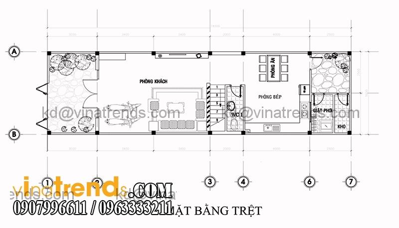 ban ve mat bang mau thiet ke nha dep 2 tang dien tich 5x153m 1 Mẫu thiết kế nhà đẹp 2 tầng 5x15,3m tại Sài Gòn   ND120814A