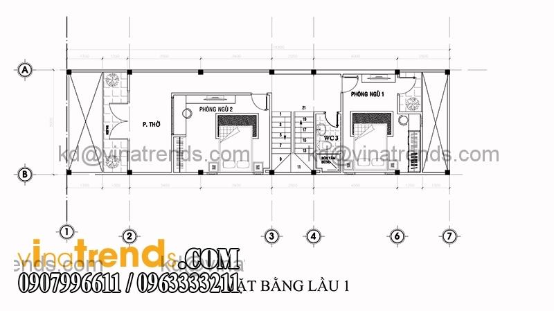 ban ve mat bang mau thiet ke nha dep 2 tang dien tich 5x153m 2 Mẫu thiết kế nhà đẹp 2 tầng 5x15,3m tại Sài Gòn   ND120814A