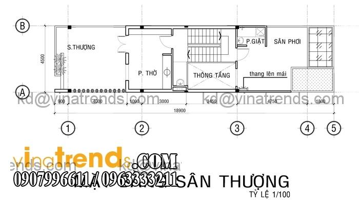 ban ve nha pho 3 tang cho gieng troi san thuong Mẫu thiết kế nhà đẹp 4,5x18m 3 tầng mới hiện đại   ND260814A