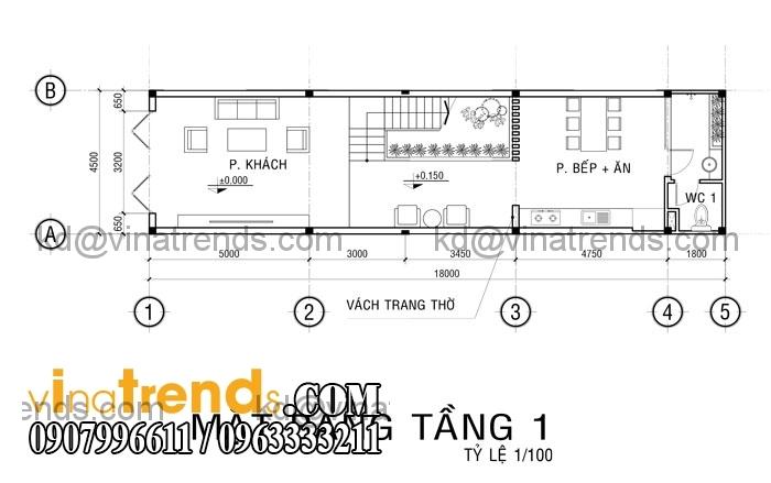 ban ve nha pho 3 tang cho gieng troi tang 1 Mẫu thiết kế nhà đẹp 4,5x18m 3 tầng mới hiện đại   ND260814A