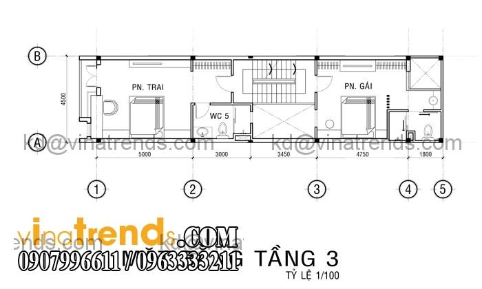 ban ve nha pho 3 tang cho gieng troi tang 2 Mẫu thiết kế nhà đẹp 4,5x18m 3 tầng mới hiện đại   ND260814A