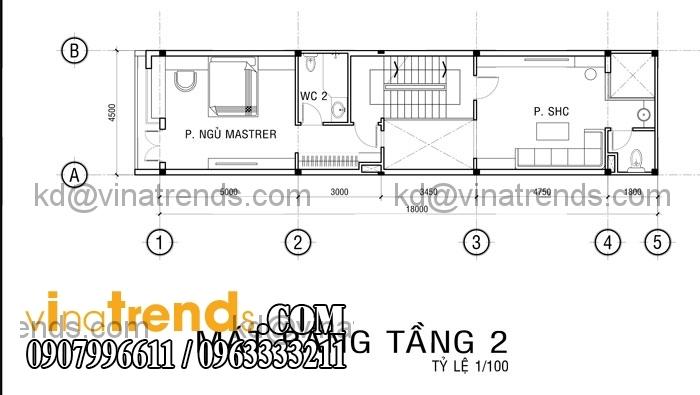 ban ve nha pho 3 tang cho gieng troi tang 3 Mẫu thiết kế nhà đẹp 4,5x18m 3 tầng mới hiện đại   ND260814A