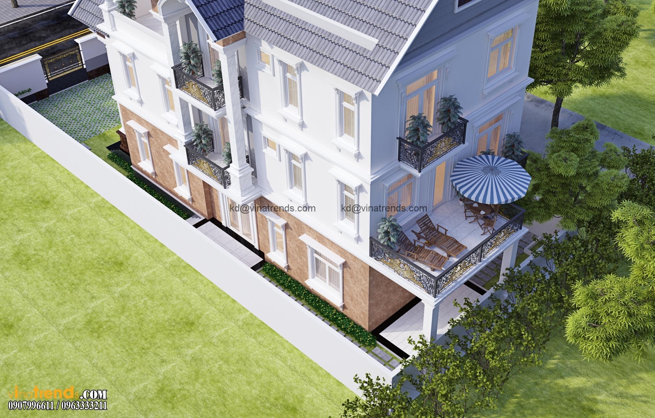 biet thu co dien dep nhat 3 tang 554m2 1 Mẫu biệt thự 3 tầng đẹp 12x30m sang trọng tinh tế của anh Hoan Đồng Nai BT310316A