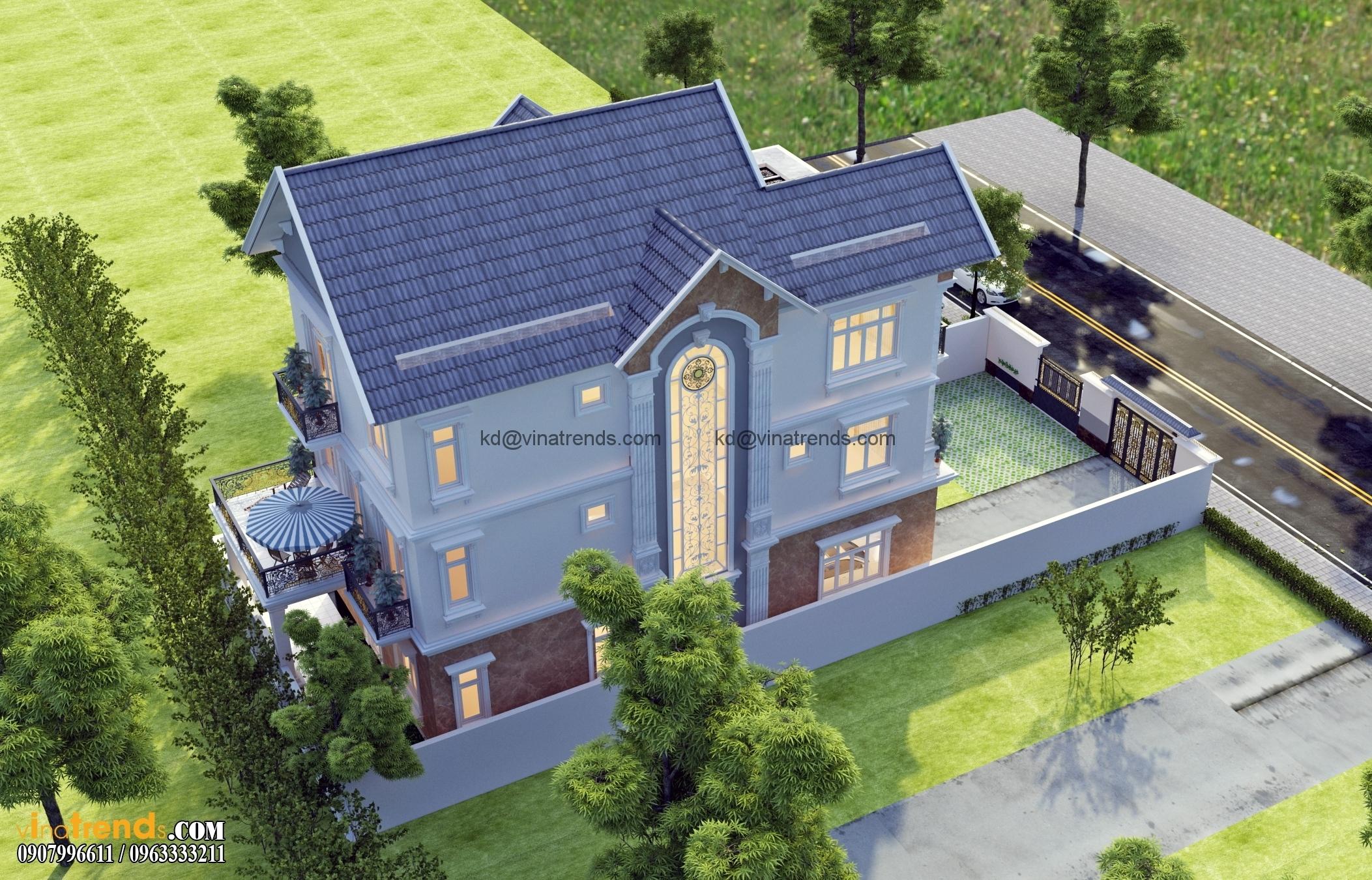 biet thu co dien dep nhat 3 tang 554m2 2 Thiết kế biệt thự vườn 360m2 3 tầng tân cổ điển mới lạ BTV270814A