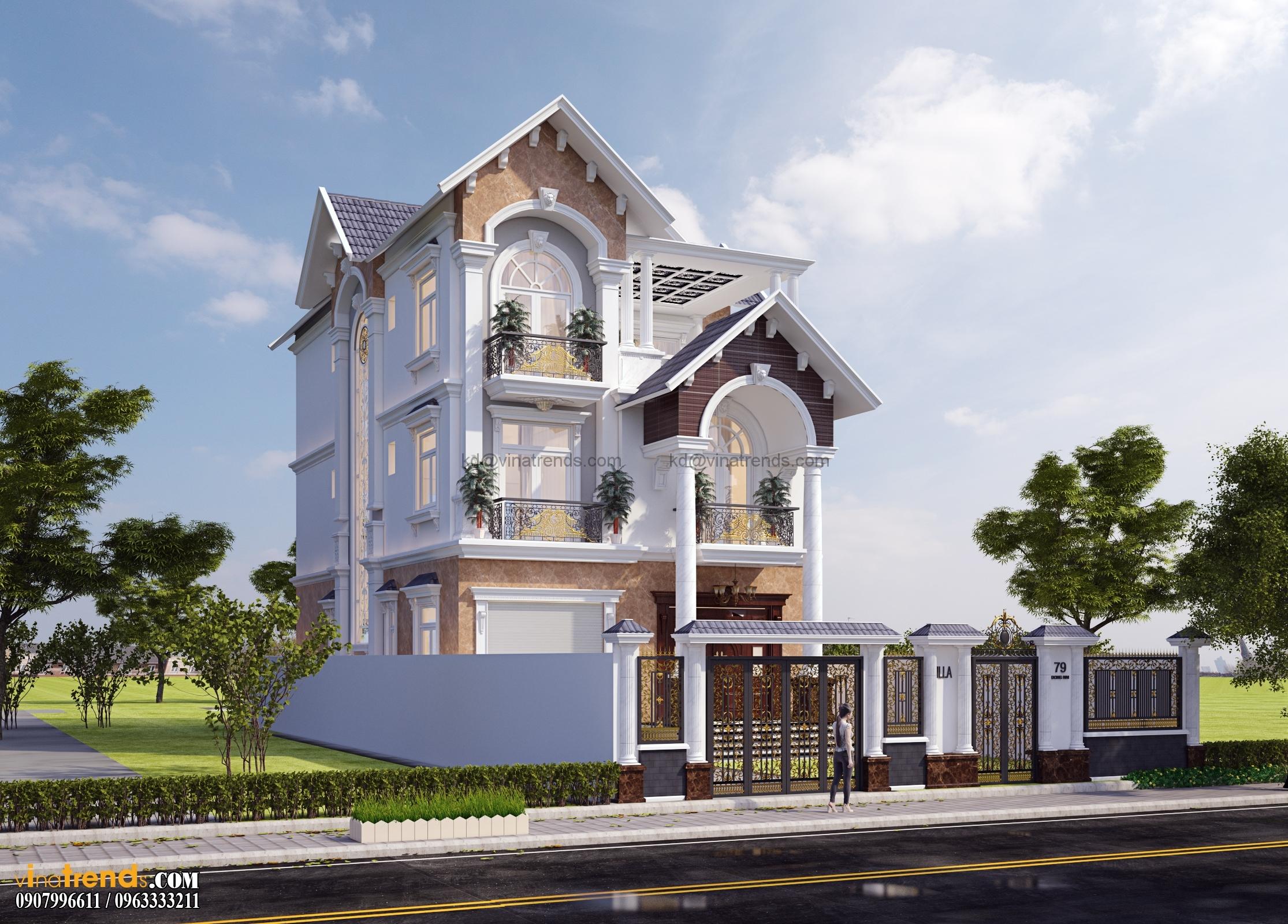 biet thu co dien dep nhat 3 tang 554m2 4 Thiết kế biệt thự vườn 360m2 3 tầng tân cổ điển mới lạ BTV270814A