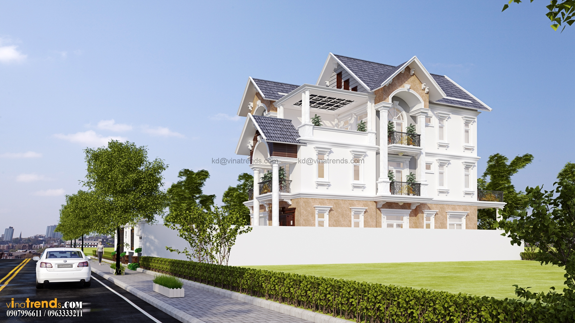 biet thu co dien dep nhat 3 tang 554m2 Thiết kế biệt thự vườn 360m2 3 tầng tân cổ điển mới lạ BTV270814A