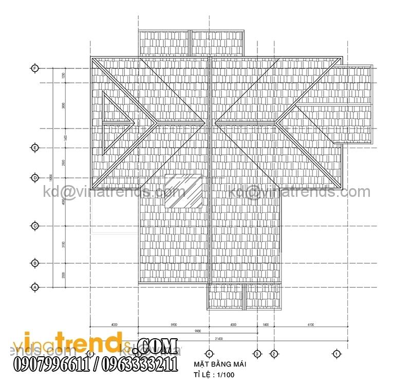 mat bang biet thu 2 tang dep 390m2 1 Sắc xanh biệt thự hiện đại 390m2 2 tầng bán cổ điển Pháp   BTHD220814A