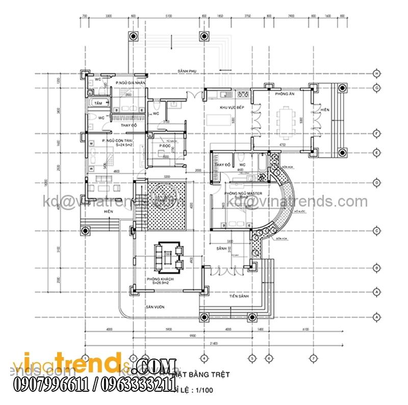 mat bang biet thu 2 tang dep 390m2 3 Sắc xanh biệt thự hiện đại 390m2 2 tầng bán cổ điển Pháp   BTHD220814A