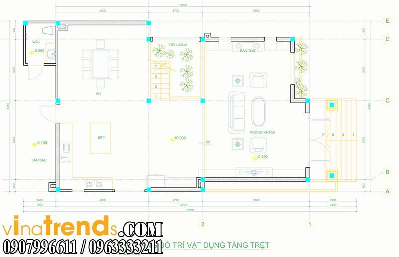 mat bang biet thu pho 2 tang 845x165m 2 Mẫu thiết kế nhà phố đẹp 8,45x16,5m bán cổ điển mới nhất   NP050814A