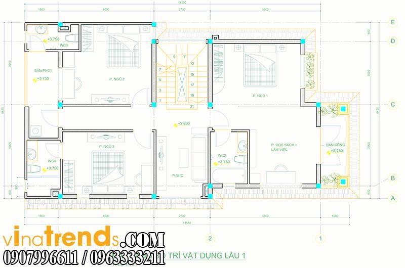 mat bang biet thu pho 2 tang 845x165m 3 Mẫu thiết kế nhà phố đẹp 8,45x16,5m bán cổ điển mới nhất   NP050814A