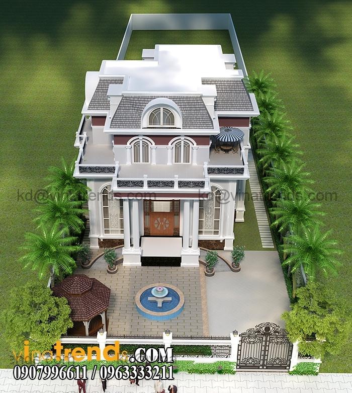 mau biet thu phap 2 tang dep 1 Mê đắm mẫu thiết kế biệt thự vườn 3 tầng 13x17m cực đẹp   BTV200814A