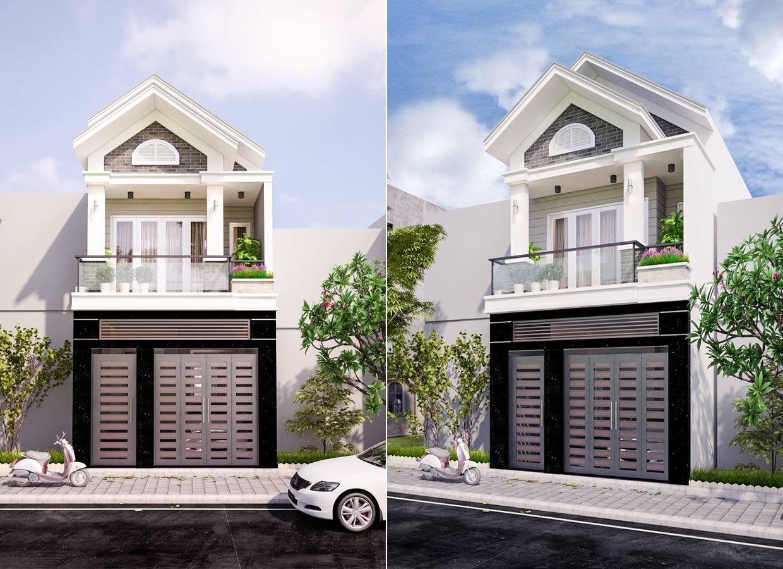 mau nha dep 2 tang mat tien 5m Mẫu thiết kế nhà 2 tầng mặt tiền 5mx15m mái ngói vừa an toàn vừa sang như biệt thự