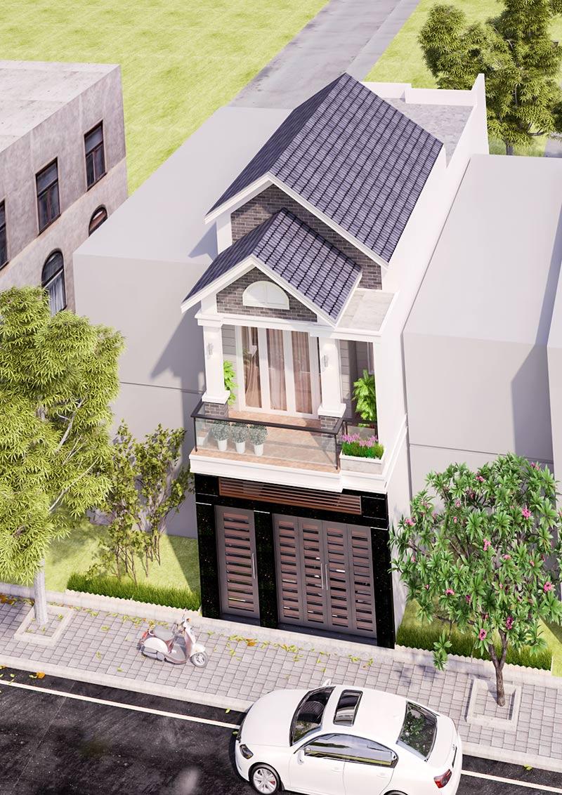 mau nha mat tien 5m 2 tang dep Mẫu thiết kế nhà 2 tầng mặt tiền 5mx15m mái ngói vừa an toàn vừa sang như biệt thự