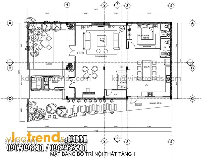 mb tret biet thu pho 3 tang hien dai 134m2 Hấp dẫn mẫu thiết kế biệt thự hiện đại 134m2 mới lạ   BTHD250814A