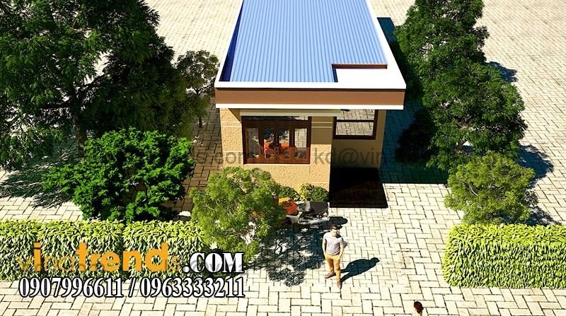 phoi canh mau nha dep 1 tang dien tich 855m 1 Thiết kế nhà đẹp 1 tầng 5x17,1m trên diện tích 400m2 vườn xinh xắn   ND230814A
