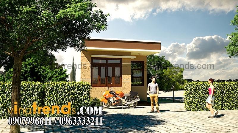 phoi canh mau nha dep 1 tang dien tich 855m 2 Thiết kế nhà đẹp 1 tầng 5x17,1m trên diện tích 400m2 vườn xinh xắn   ND230814A