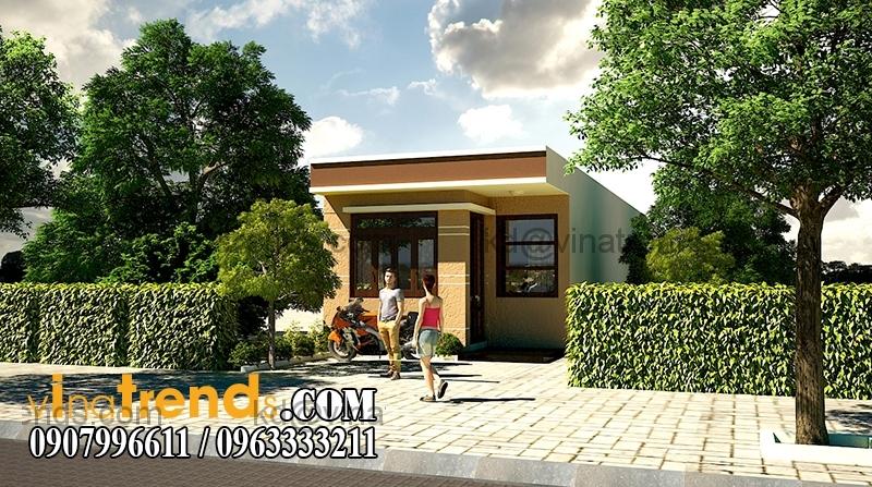 phoi canh mau nha dep 1 tang dien tich 855m 3 Thiết kế nhà đẹp 1 tầng 5x17,1m trên diện tích 400m2 vườn xinh xắn   ND230814A