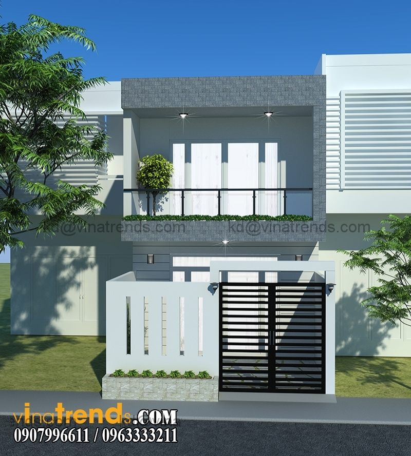 phoi canh mau thiet ke nha dep 2 tang mat tien 5m kien truc hien dai 1 Mẫu thiết kế nhà đẹp 2 tầng 5x15,3m tại Sài Gòn   ND120814A