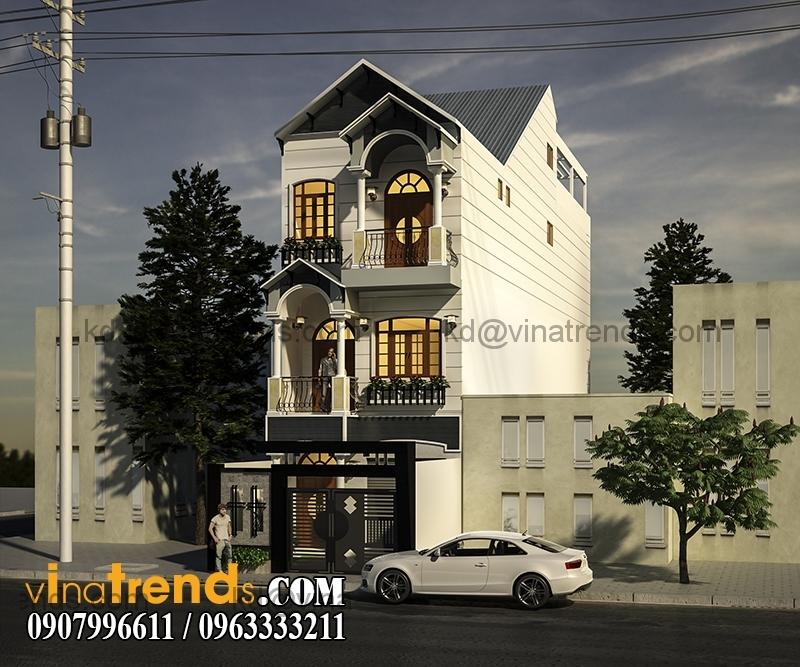 phoi canh mau thiet ke nha pho 3 tang dep dien tich 695m2 1 Mẫu thiết kế nhà phố đẹp 8,45x16,5m bán cổ điển mới nhất   NP050814A