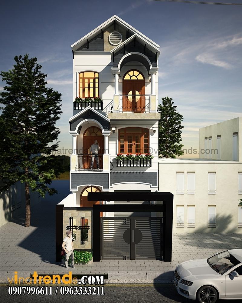 phoi canh mau thiet ke nha pho 3 tang dep dien tich 695m2 2 Mẫu thiết kế nhà phố đẹp 8,45x16,5m bán cổ điển mới nhất   NP050814A