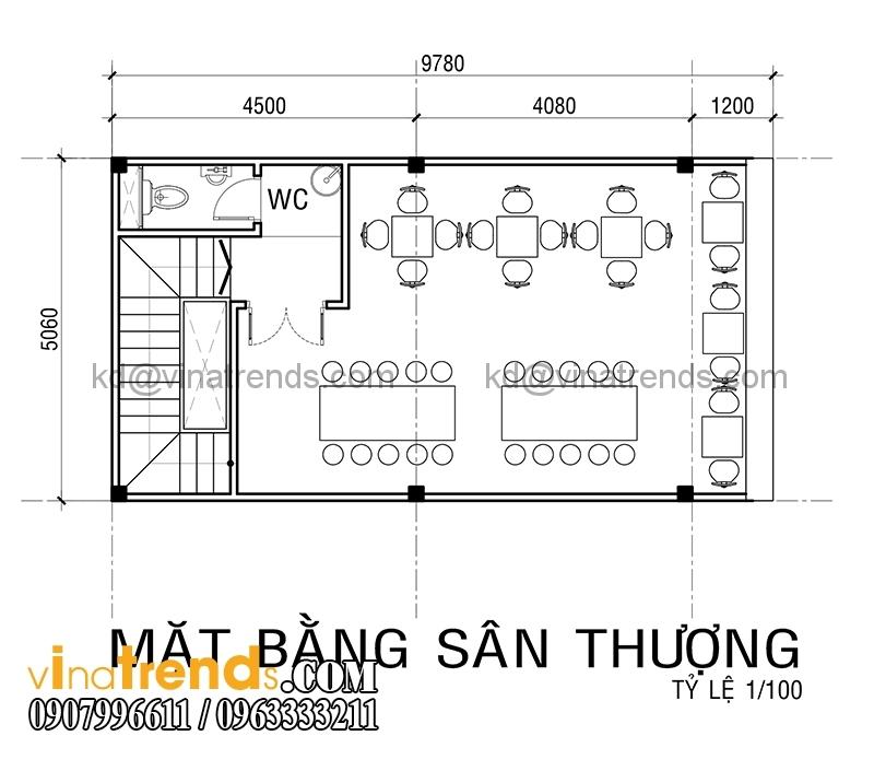 ban ve mat bang mau thiet ke nha pho 4 tang co san thuong 5x10m dep 2 Xinh xắn mẫu thiết kế nhà phố 4 tầng 5x10m sân thượng hiện đại   NP130914A
