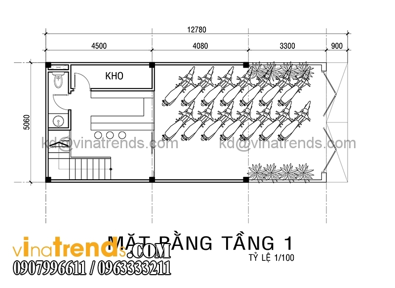 ban ve mat bang mau thiet ke nha pho 4 tang co san thuong 5x10m dep 3 Xinh xắn mẫu thiết kế nhà phố 4 tầng 5x10m sân thượng hiện đại   NP130914A