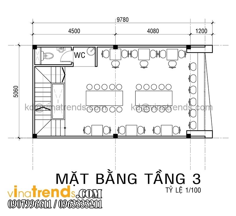 ban ve mat bang mau thiet ke nha pho 4 tang co san thuong 5x10m dep 5 Xinh xắn mẫu thiết kế nhà phố 4 tầng 5x10m sân thượng hiện đại   NP130914A