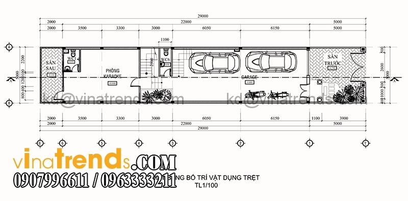 ban ve thiet ke nha pho 3 tang hien dai dien tich 695m2 2 Thiết kế nhà phố 3 tầng đẹp 5x13,9m phong cách hiện đại   NP260914A