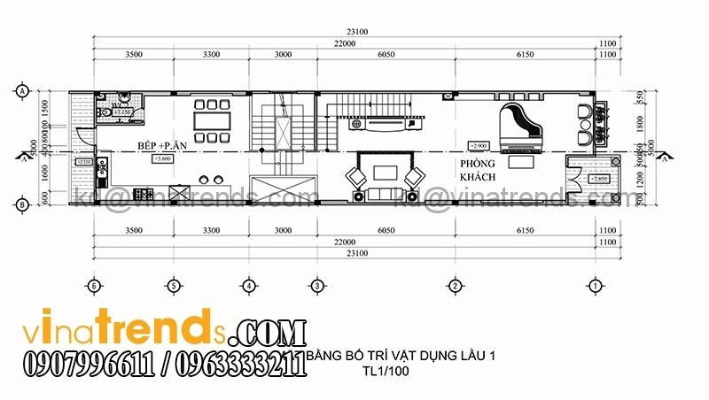 ban ve thiet ke nha pho 3 tang hien dai dien tich 695m2 3 Thiết kế nhà phố 3 tầng đẹp 5x13,9m phong cách hiện đại   NP260914A