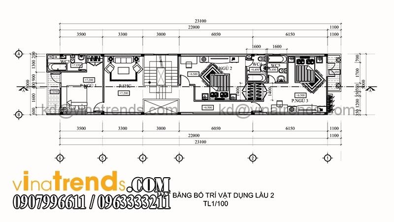 ban ve thiet ke nha pho 3 tang hien dai dien tich 695m2 4 Thiết kế nhà phố 3 tầng đẹp 5x13,9m phong cách hiện đại   NP260914A