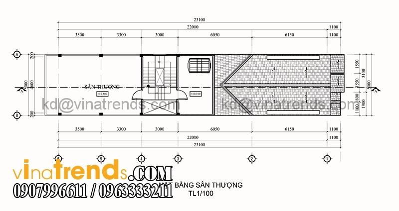 ban ve thiet ke nha pho 3 tang hien dai dien tich 695m2 5 Thiết kế nhà phố 3 tầng đẹp 5x13,9m phong cách hiện đại   NP260914A