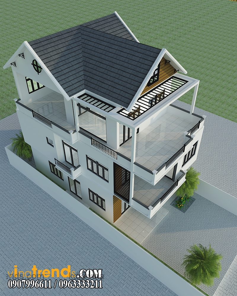 biet thu 2 tang hien dai 110m2 1 Ngắm mẫu thiết kế biệt thự 9x13m son sắc bền vững theo thời gian   BT080914A